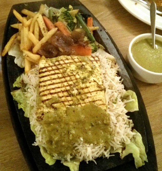 Grilled Paneer Stack Pesto Sauce